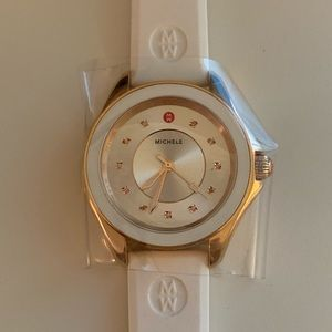 Michele Watch Rose Gold Pink Topaz White Silicone